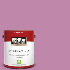 Behr Premium Plus 1 Gal M120 5 Rosy Flat Low Odor Interior Paint And Primer In One 140001 The Home Depot