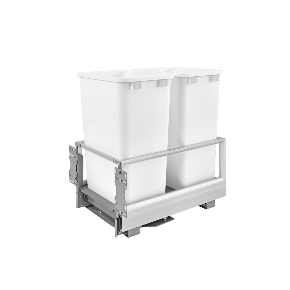 Rev-A-Shelf 23.5 in. H x 15.62 in. W x 22 in. D Double 50 Qt. Pull-Out Brushed Aluminum and White Waste Container with Rev-A-Motion