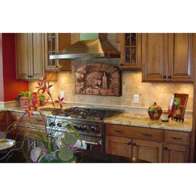 Tuscan Scene 18.5 in. W x 14 in. H Stonecast Decorative Tile Backsplash in Copper