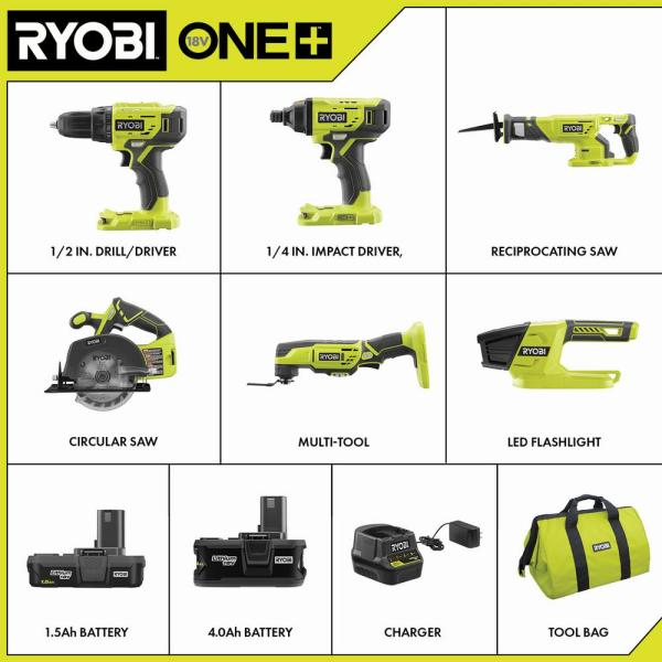 Ryobi 18 Volt One Lithium Ion Cordless 6 Tool Combo Kit With 2 Batteries Charger And Bag P1819 The Home Depot