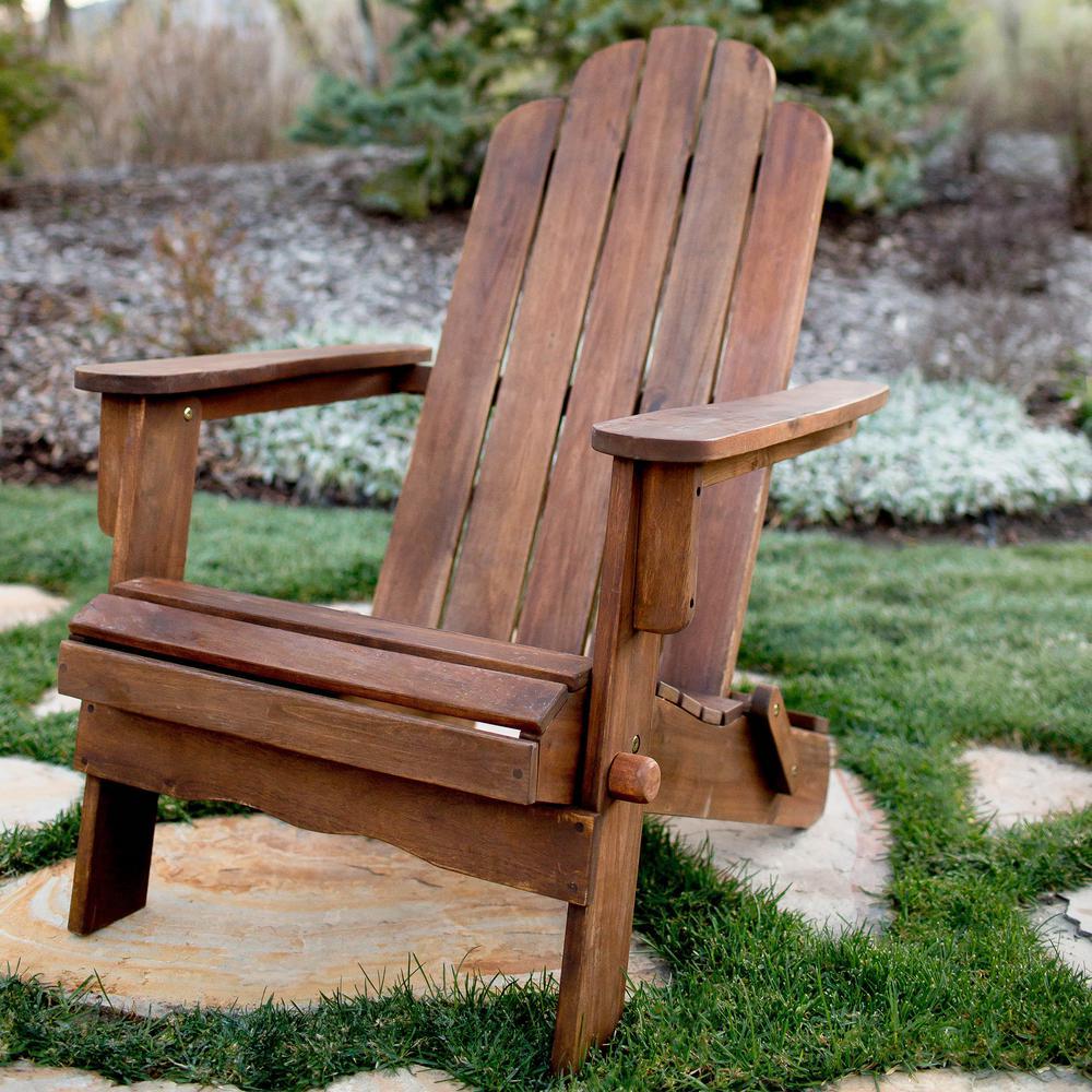 Walker Edison Furniture Company Boardwalk Dark Brown Outdoor Wood Adirondack Chair