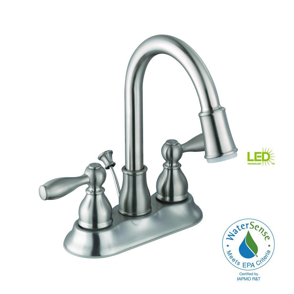Mandouri 4 in. Centerset 2-Handle LED Bathroom Faucet in Brushed Nickel