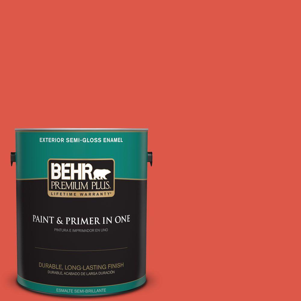 1-gal. #180B-6 Fiery Red Semi-Gloss Enamel Exterior Paint