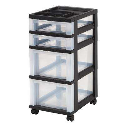68 Qt. 4 Drawer Storage Bin in Black