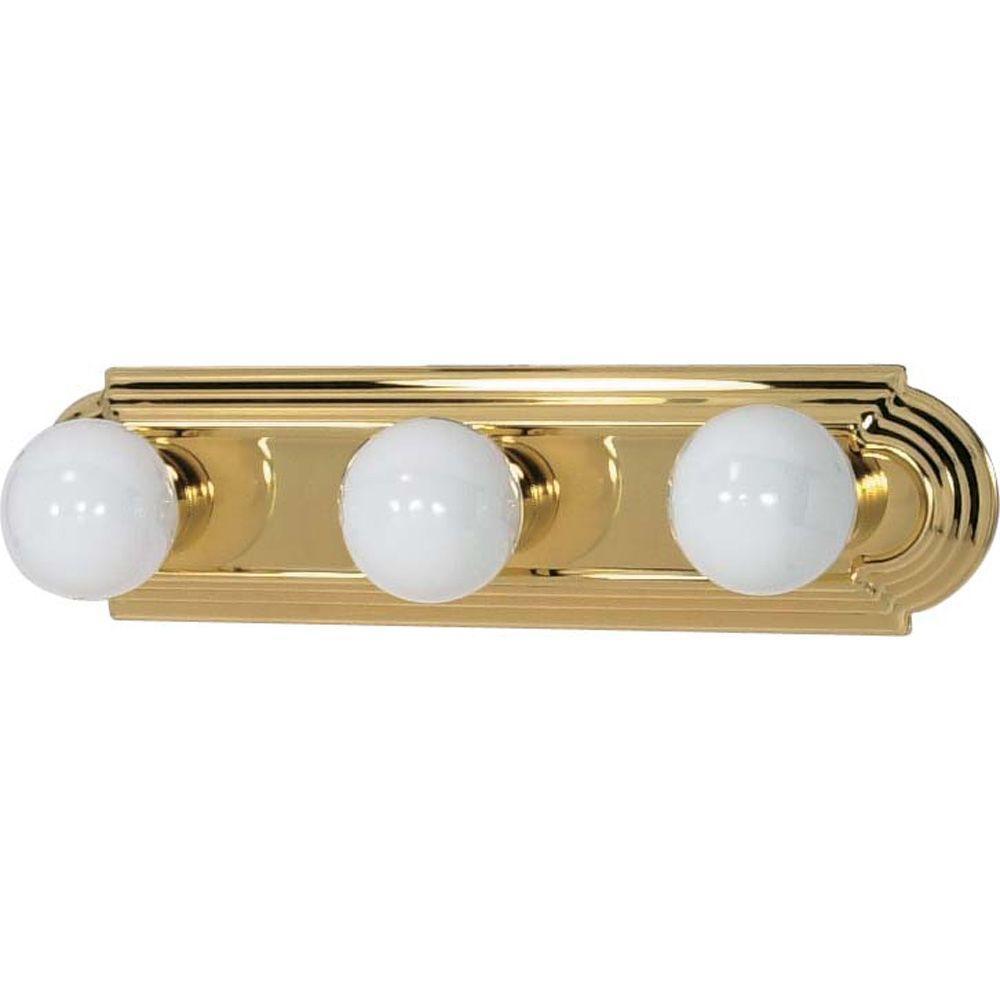 Glomar Elektra 3-Light Polished Brass Racetrack Style Bath Vanity Light