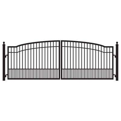 Biscayne 16 ft. W x 5 ft. H 8 in. Powder Coated Steel Dual Driveway Fence Gate