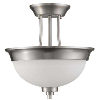 Vitoria 2-Light Satin Nickel Semi-Flush Mount Light