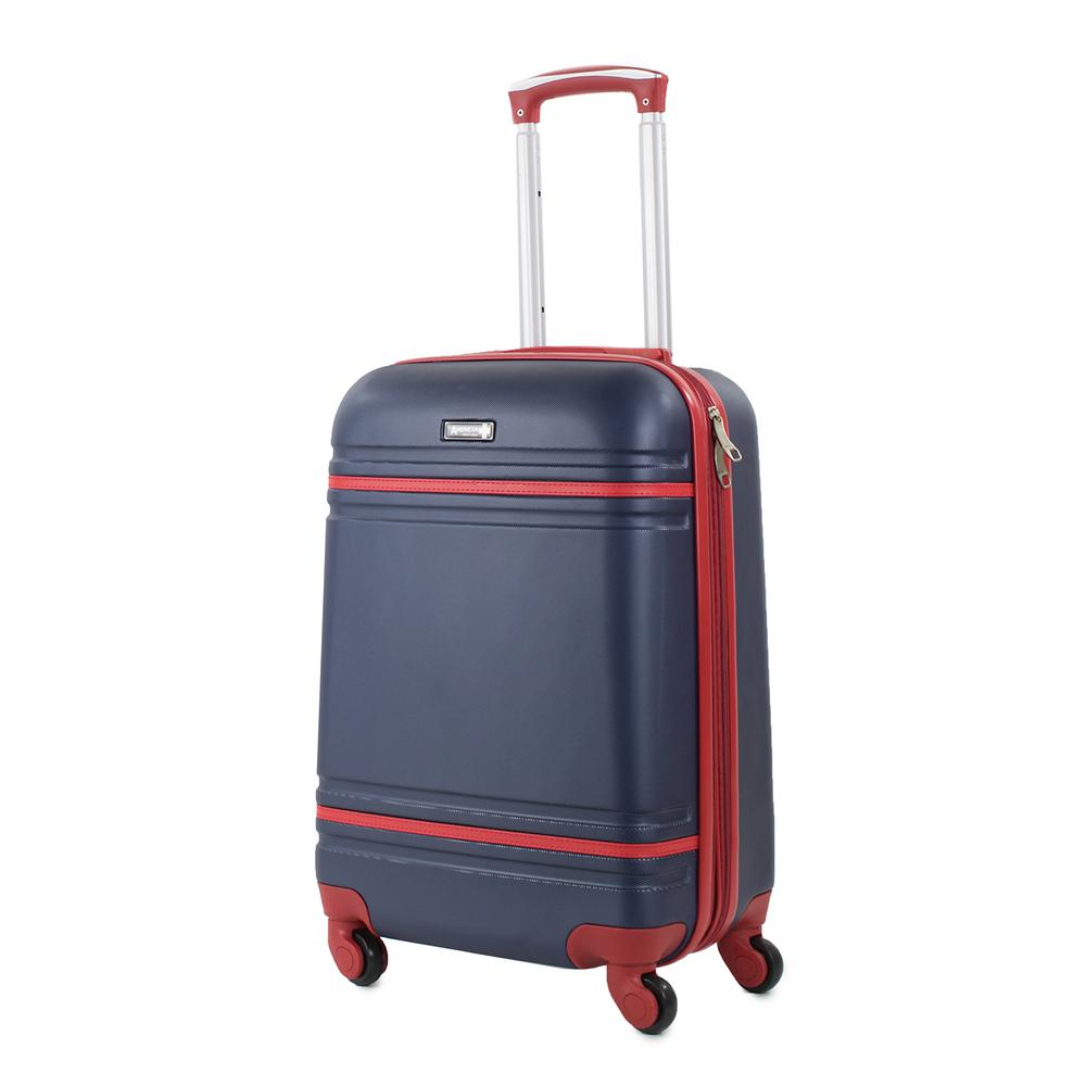 Varsity 20 in. Navy/Red Carry-On Hardside Spinner Luggage