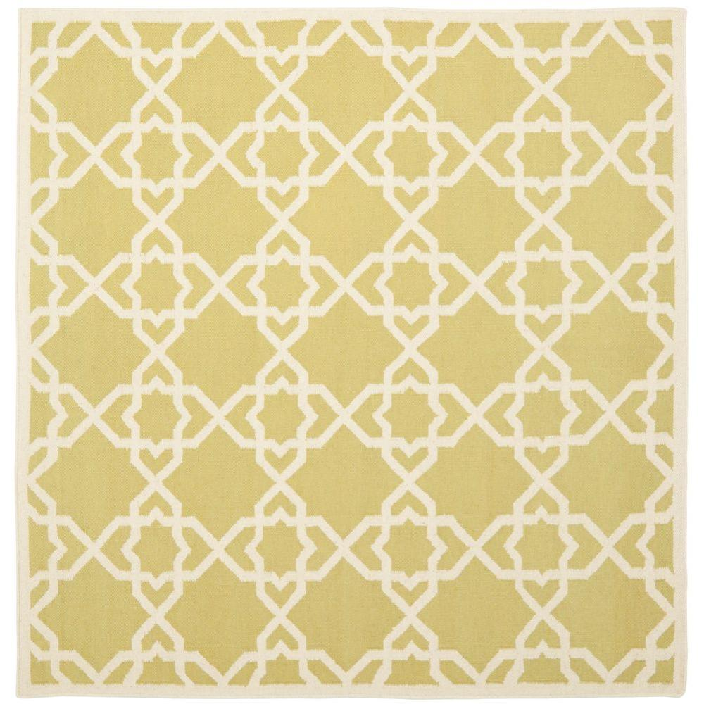 Dhurries Olive/Ivory 8 ft. x 8 ft. Square Area Rug