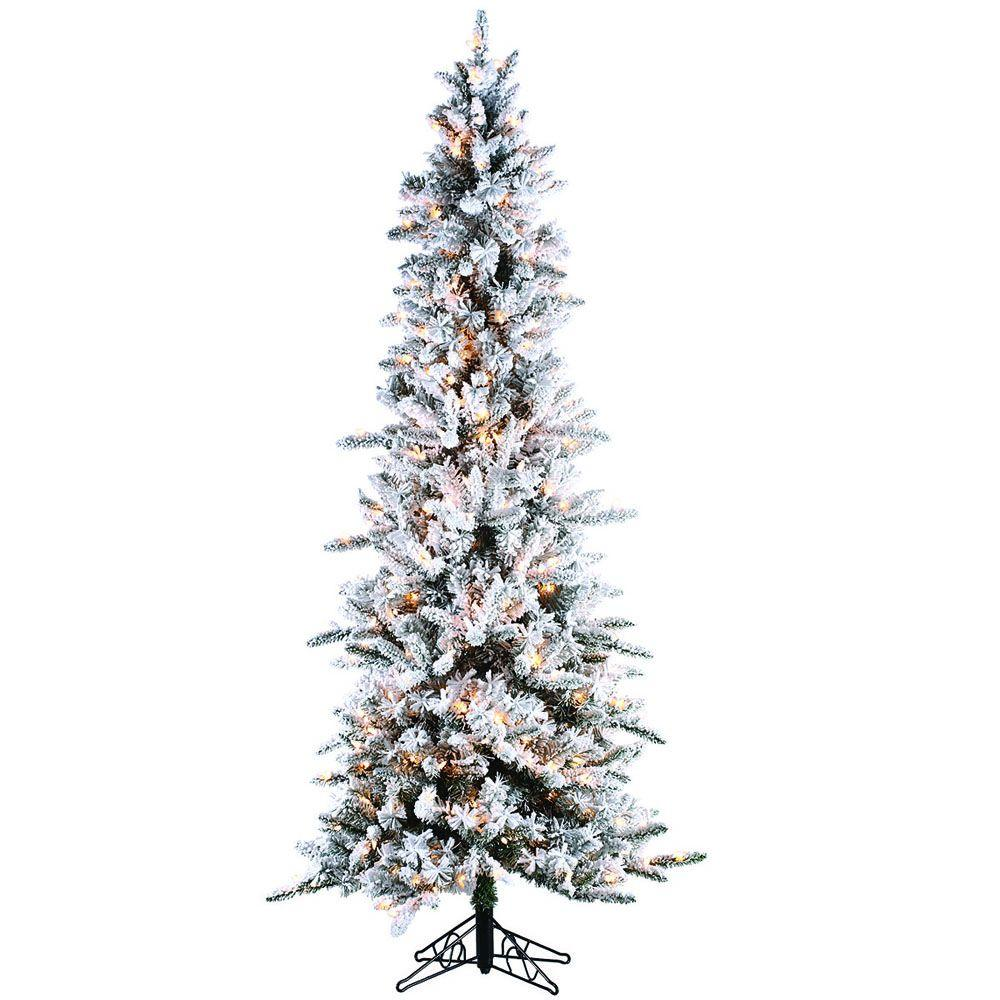 Sterling 7.5 ft. Pre-Lit Flocked Narrow Pine Artificial ...