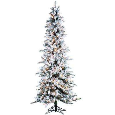 7.5 ft. Pre-Lit Flocked Narrow Pine Artificial Christmas Tree with Clear Lights