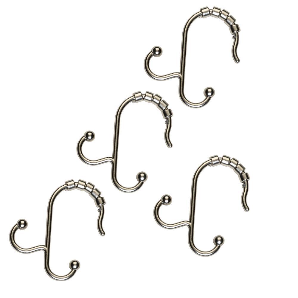 NeverRust Aluminum Double Roller Shower Hooks in Nickel (12-Pack)