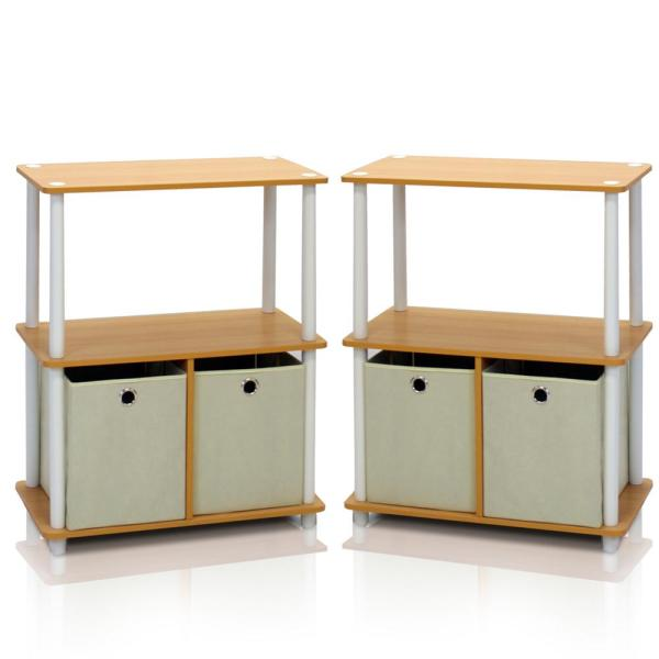 Furinno Go Green Beech 3-Shelf Open Bookcase with Bins (2-Pack) 2-99152BE