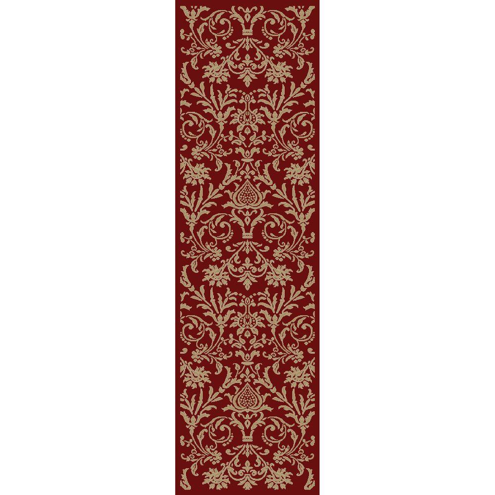 Jewel Damask Red 2 ft. 3 in. x 7 ft. 7