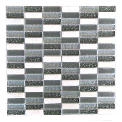 Quartz Gray and White 11.7 in. x 11.7 in. x 7.94 mm Glass and Stone Mosaic Tile