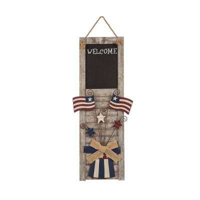 24.02 in. H Patriotic Wooden Chalkboard Shutter Wall Decor