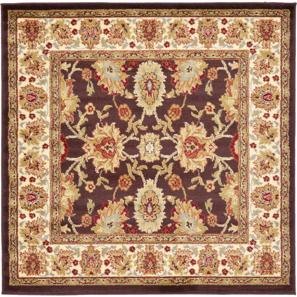 Unique Loom Agra Brown 4 Ft X 4 Ft Square Area Rug