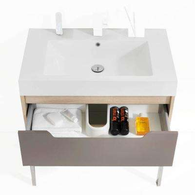 Bologna 31.26 in. x 19.69 in. Bath Vanity in Oak with Solid Surface Vanity Top in White with White Basin