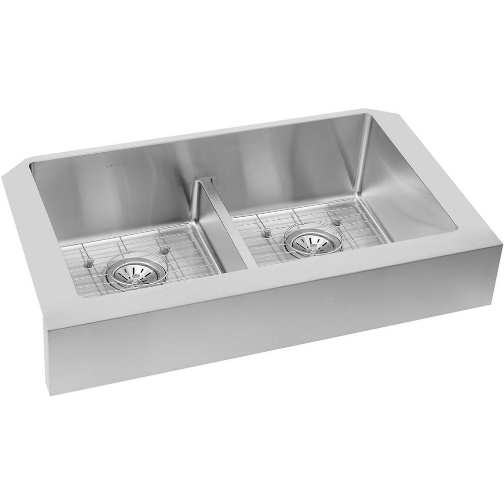 Crosstown Farmhouse Apron Front Stainless Steel 32 in. Double Bowl Kitchen
