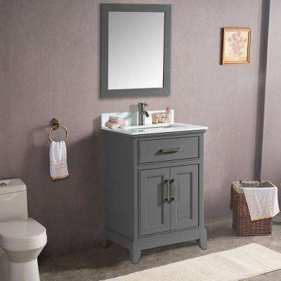 Genoa 30 in. W x 22 in. D x 36 in. H Bath Vanity in Grey with Vanity Top in White with White Basin and Mirror