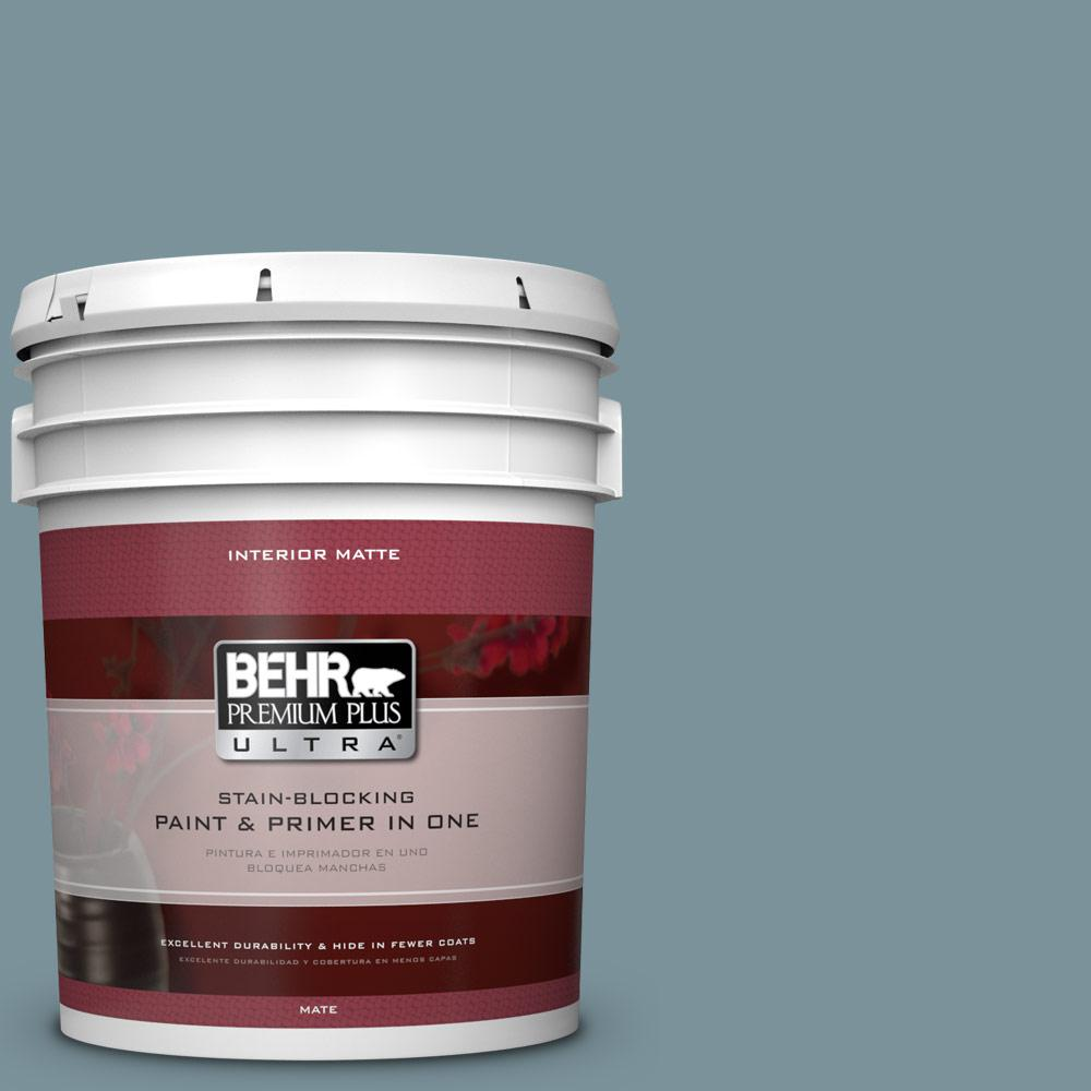 BEHR Premium Plus Ultra 5 gal. #PMD-55 Silent Tide Flat/Matte Interior Paint