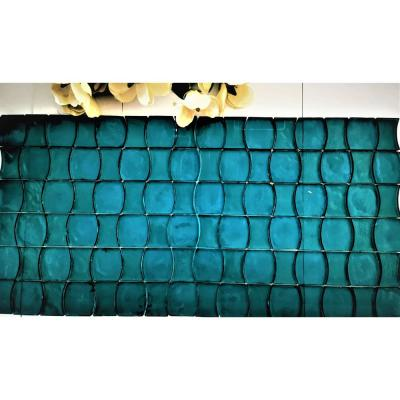 Ecologic Sea Green Hourglass 12 in. x 12 in. Recycled Glass Mosaic Tile (8 sq. ft./Case)