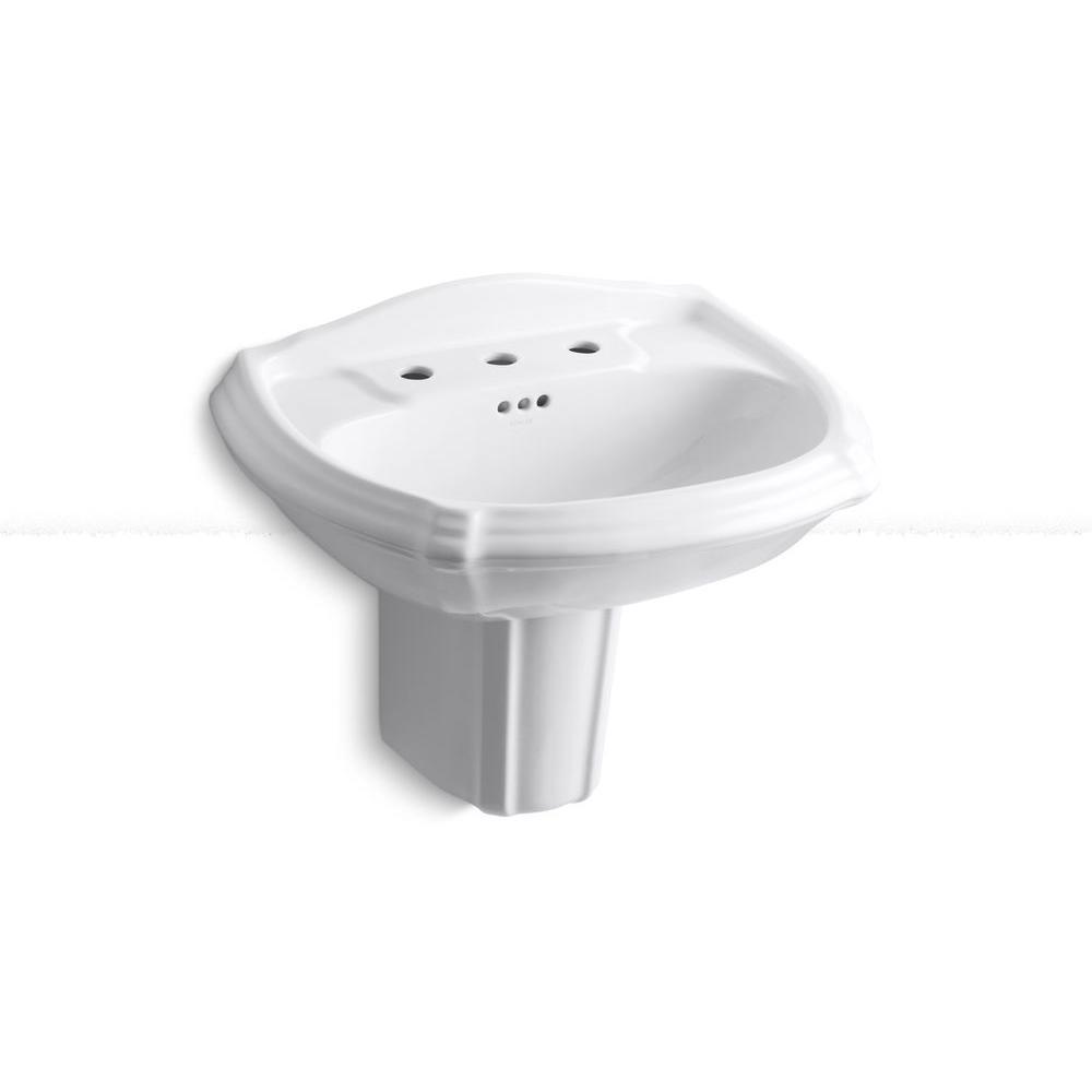 Kohler Portrait Wall Mount Bathroom Sink In White K 2226 8 0 The Home Depot