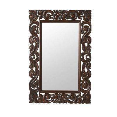 Padma Mango 36 in. H x 24 in. W English Oak Wood Carved Framed Mirror