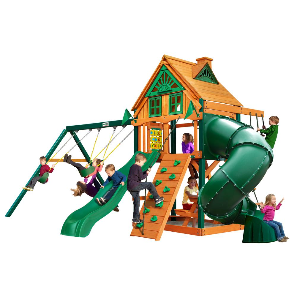 Gorilla Playsets Mountaineer Treehouse Wooden Swing Set with Timber ShieldPosts, Tube Slide, and Rock Climbing Wall