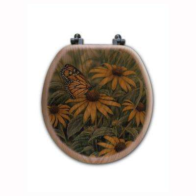 Monarch Butterfly Round Closed Front Wood Toilet Seat in Oak Brown