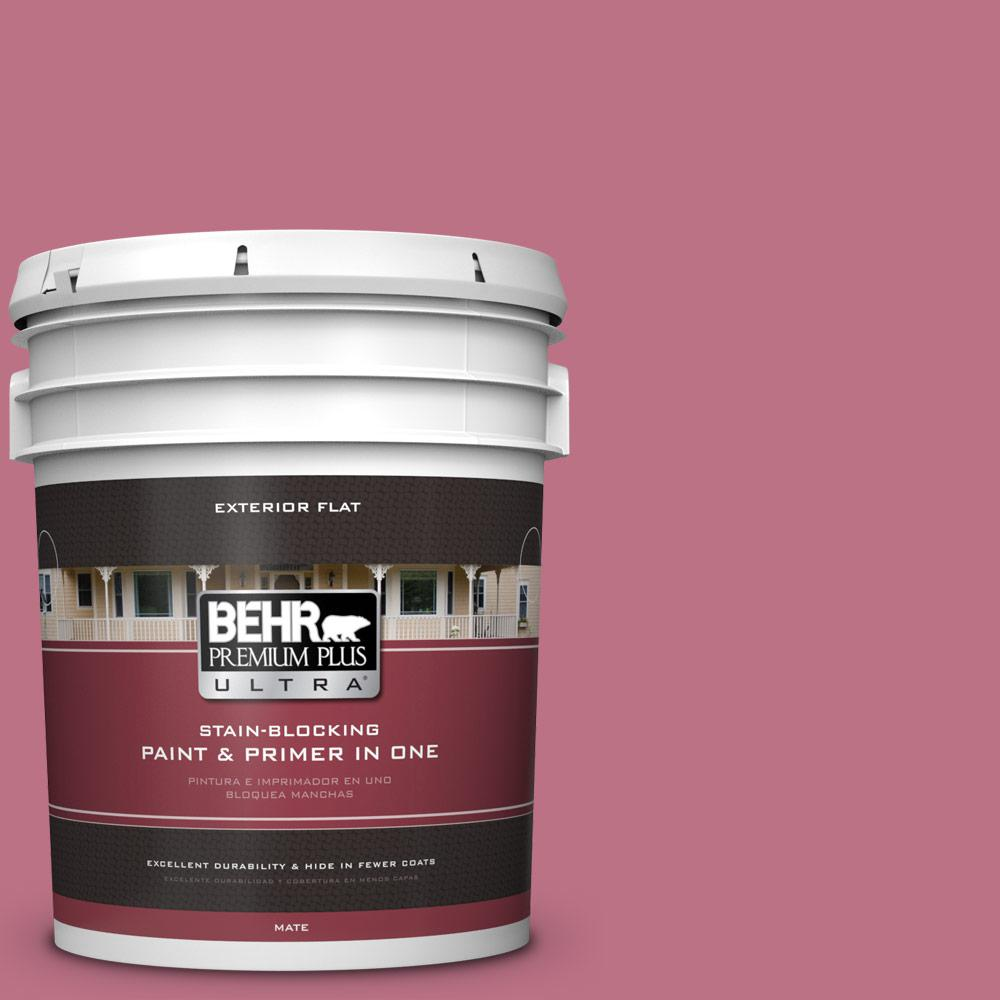 5 gal. #MQ1-8 Smell the Roses Flat Exterior Paint and Primer