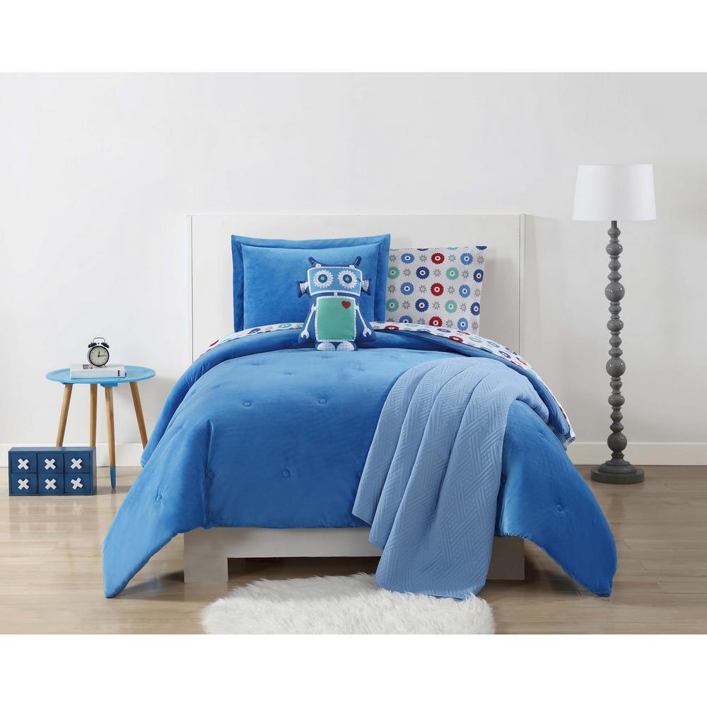 Velvet and Jersey Blue Full / Queen Comforter Set by