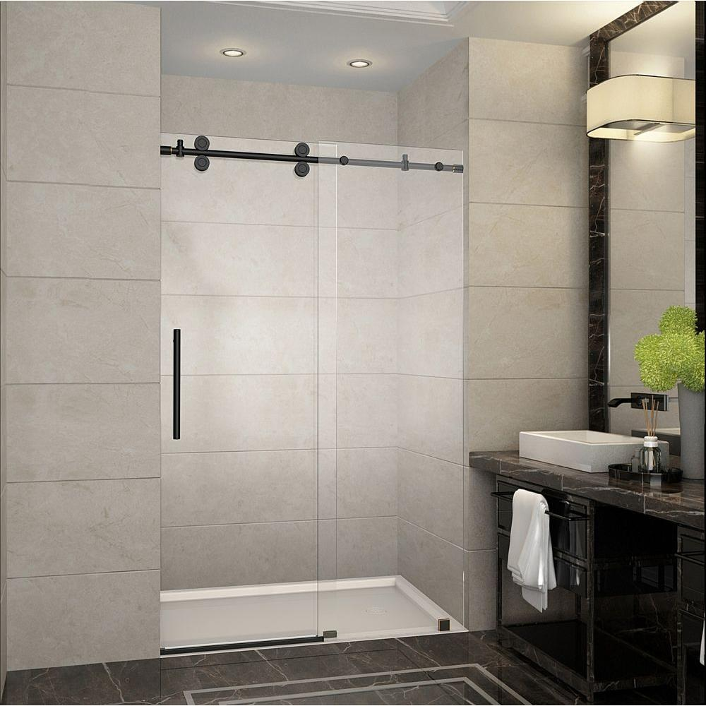 Aston Langham 48 in. x 75 in. Completely Frameless Sliding Shower Door in Oil & Aston Langham 48 in. x 75 in. Completely Frameless Sliding Shower ...