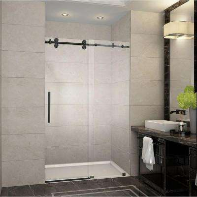 Langham 48 in. x 75 in. Completely Frameless Sliding Shower Door in Oil Rubbed Bronze