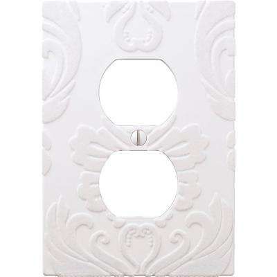 Demask 1 Duplex Wall Plate - White