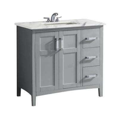 Winston 36 in. Bath Vanity in Warm Grey with Marble Extra Thick Vanity Top in Bombay White with White Basin