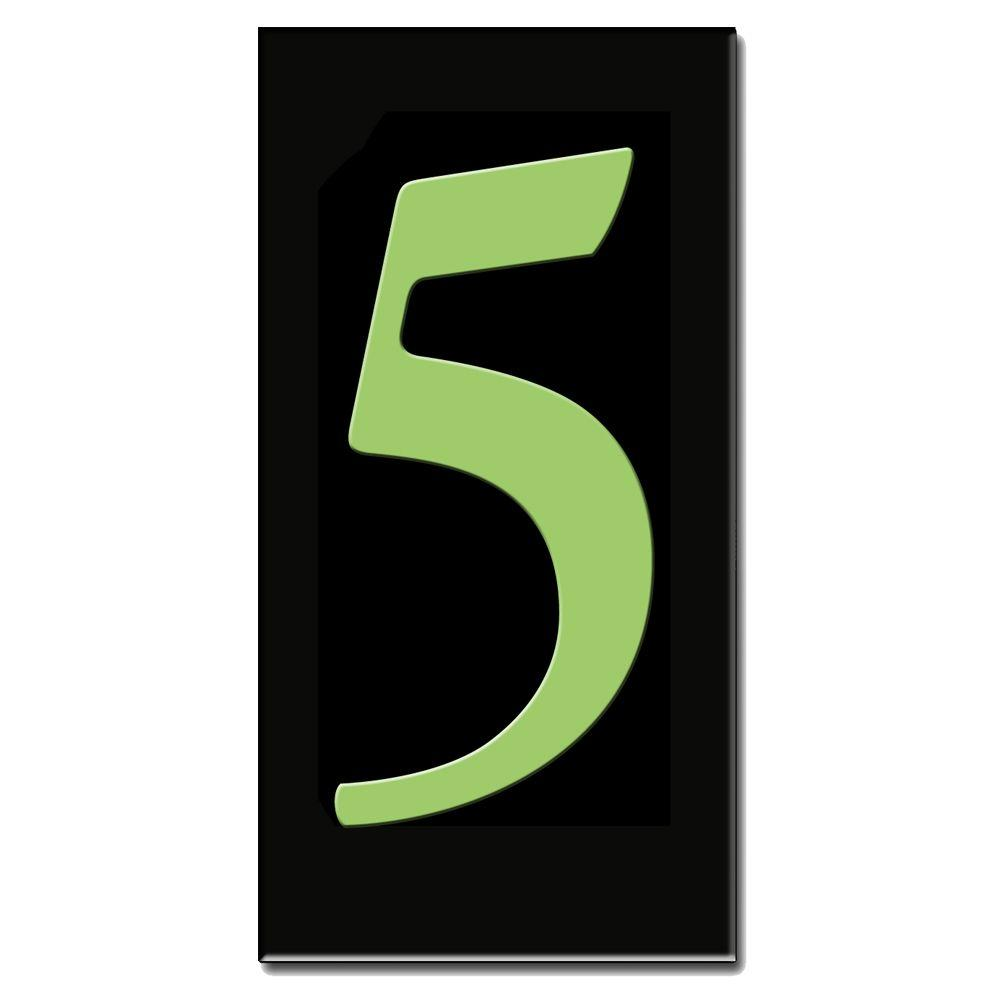 null 3 in. x 6 in. Glow in Dark Ceramic House Number 5