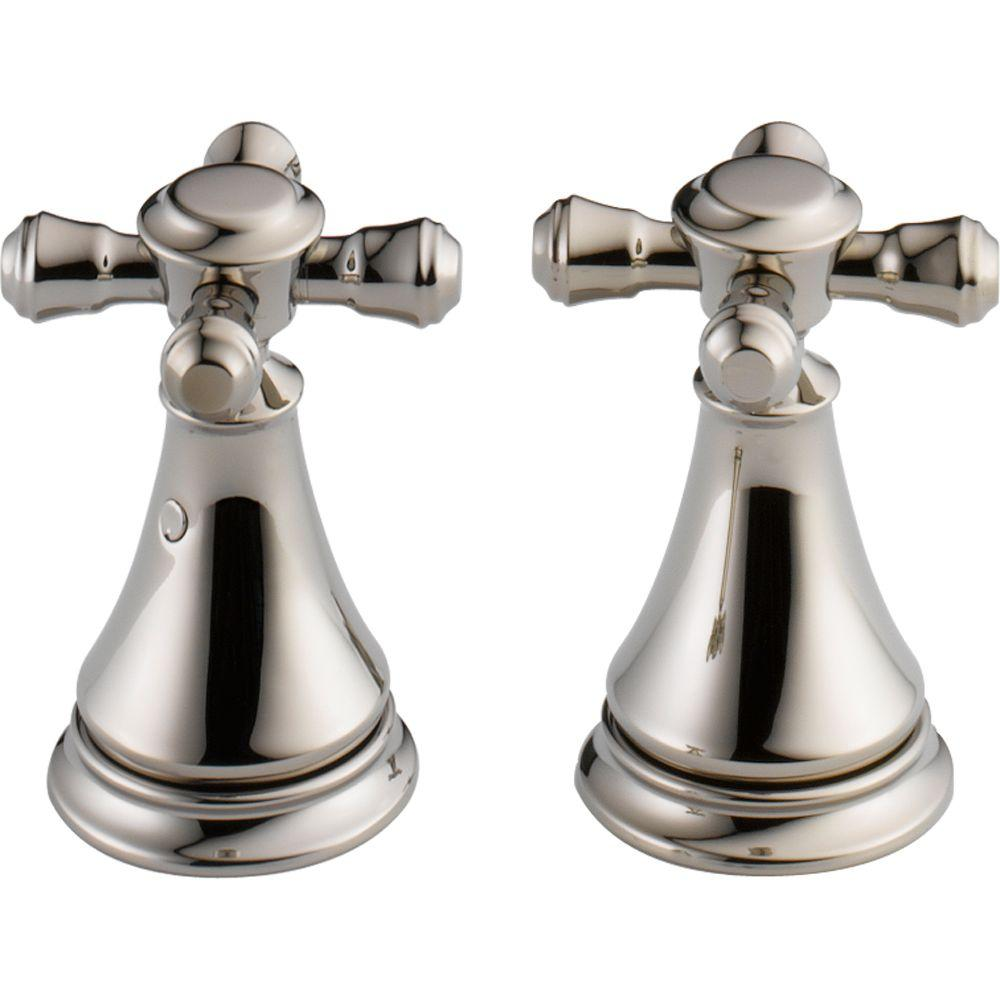 Pair of Cassidy Metal Cross Handles for Bathroom Faucet in Polished