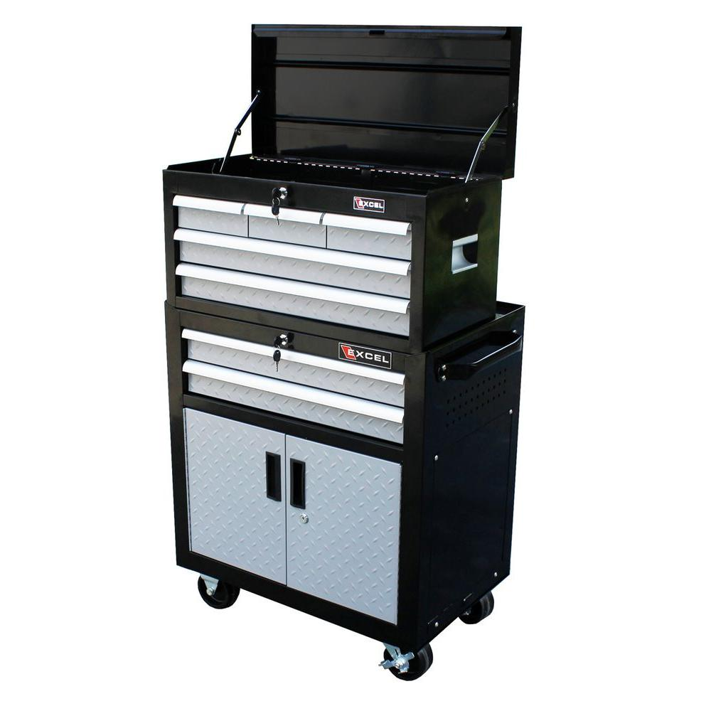 Excel 26.7 in. W x 17.1 in. D x 43.9 in. 7- Drawer 26 in. Chest and Cabinet, Black with Diamond Plate Drawer Fronts, Each