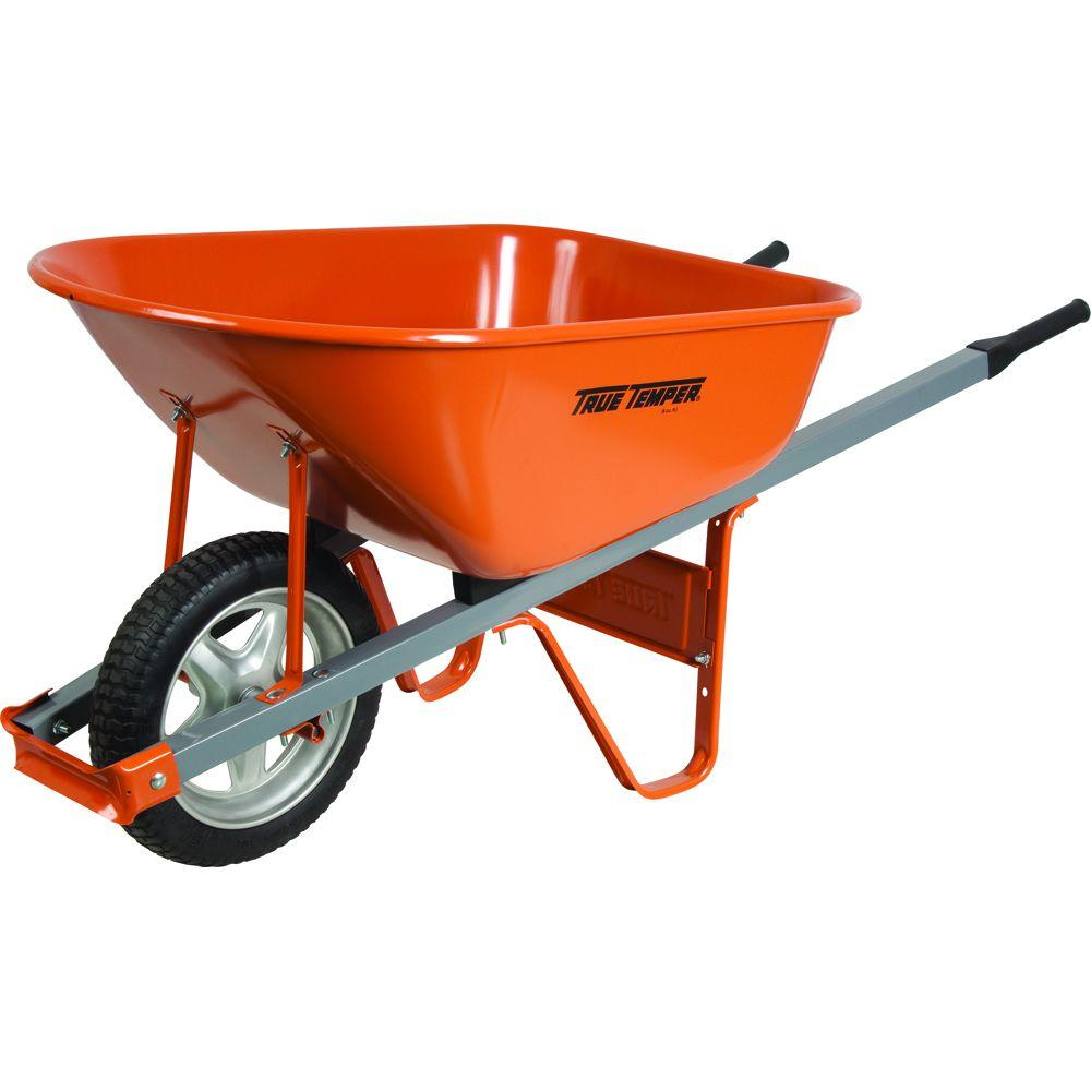 True Temper 6 cu. ft. Wheelbarrow with Steel Handles and Flat Free Tire