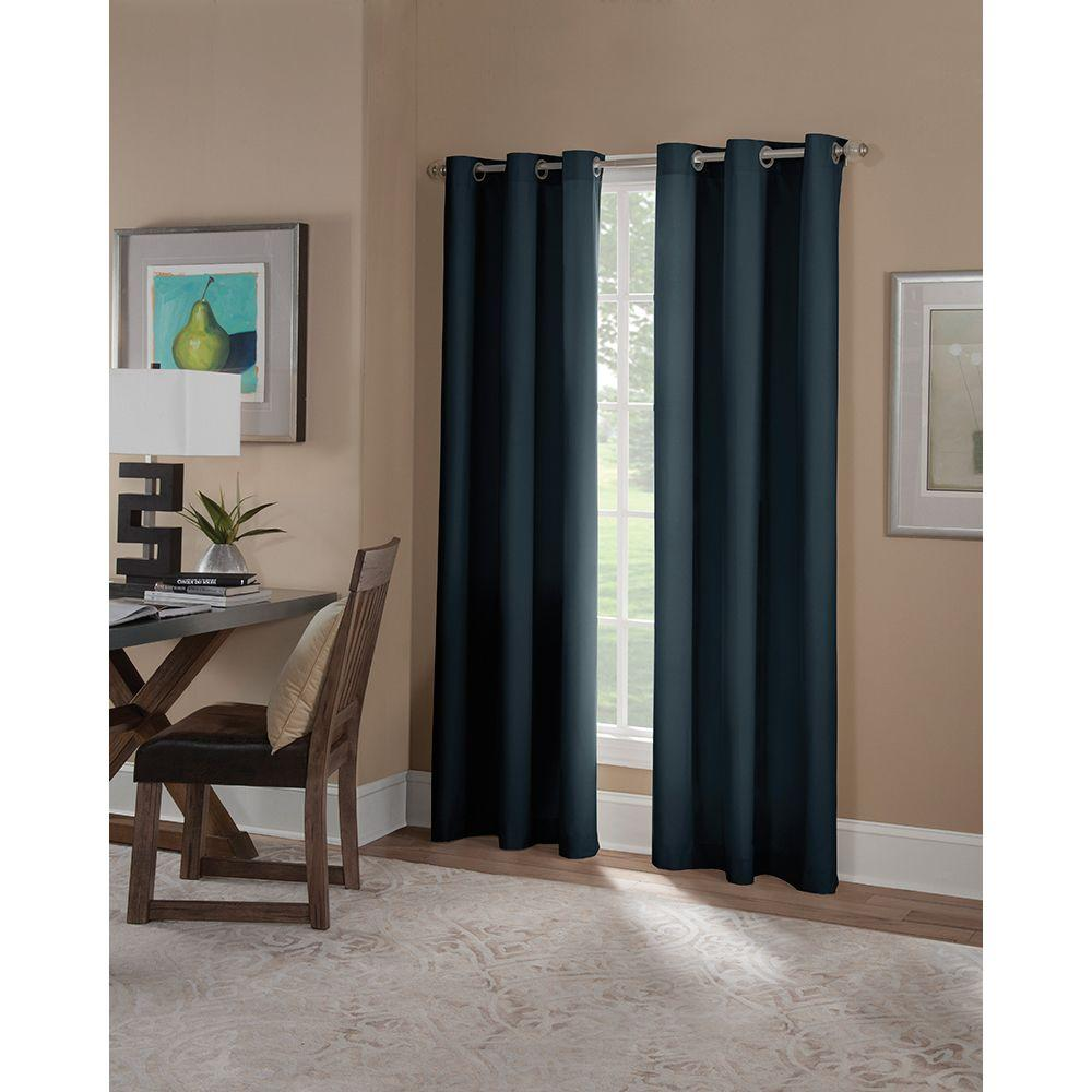 Solaris Semi Opaque Navy Microfiber Grommet Curtain (1 Panel) 1627837   The  Home Depot
