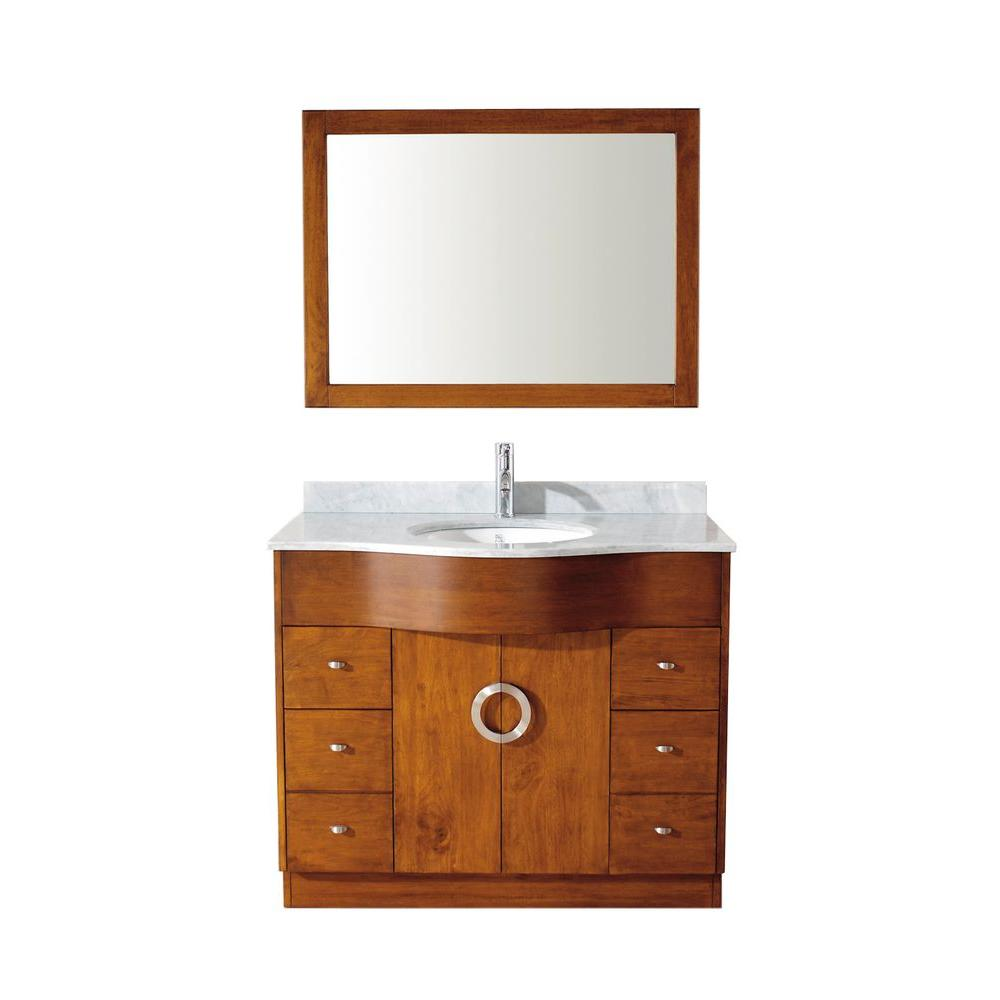 Studio Bathe Zoe 42 in. Vanity in Classic Cherry with Marble Vanity Top in Classic Cherry and Mirror
