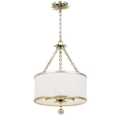 Broche 3-Light Antique Silver Chandelier