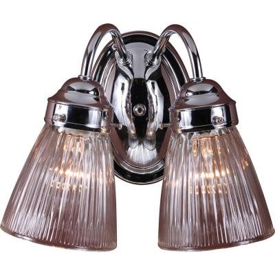 2-Light Indoor Chrome Bath or Vanity Light Wall Mount or Wall Sconce with Clear Ribbed Glass Bell Shades