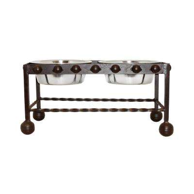 Mission 22 in. x 11 in. Rustic Iron and Stainless Steel Decorative Double Pet Feeder