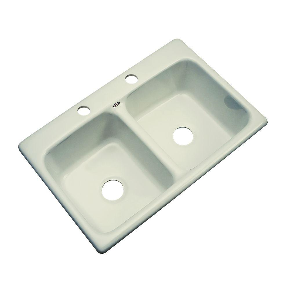 Thermocast Newport Drop-In Acrylic 33 in. 2-Hole Double Bowl Kitchen Sink in Jersey Cream