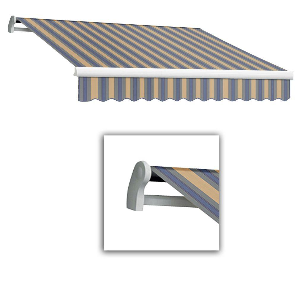 AWNTECH 10 ft. Maui-LX Left Motor Retractable Acrylic Awning with Remote (96 in. Projection) in Dusty Blue/Tan Multi
