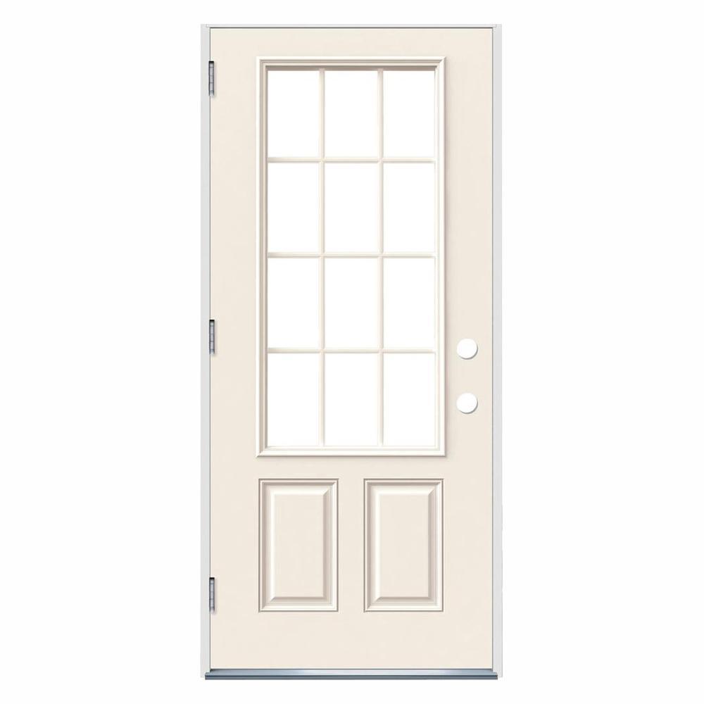 JELD-WEN 32 in. x 80 in. 12 Lite Primed Steel Prehung Right-Hand Outswing Front Door