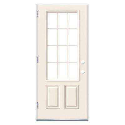 32 in. x 80 in. 12 Lite Primed Steel Prehung Right-Hand Outswing Front Door