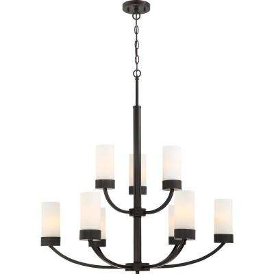 9-Light Mahogany Bronze Chandelier
